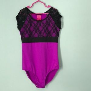 Other - Girls Purple and Black Lace Dance Leotard Size LG